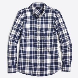 J.CREW MERCANTILE Flannel NWT WHITE BLUE PLAID